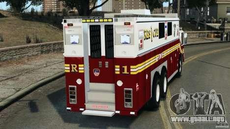 FDNY Rescue 1 [ELS] para GTA 4 Vista posterior izquierda
