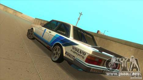 Volvo 240 Turbo Group A para GTA San Andreas vista posterior izquierda