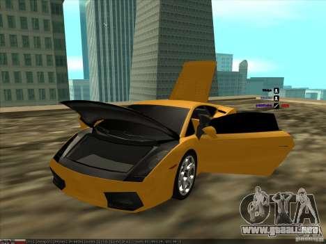 Lamborghini Gallardo para GTA San Andreas vista hacia atrás