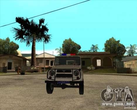 UAZ 31514 patrulla para GTA San Andreas vista hacia atrás