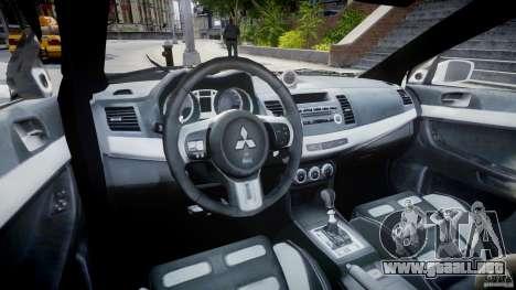 Mitsubishi Evolution X Police Car [ELS] para GTA 4 visión correcta