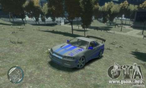 Nissan Skyline GT-R34 para GTA 4 vista hacia atrás