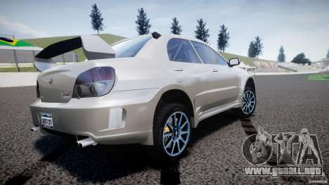 Subaru Impreza STI Wide Body para GTA 4 Vista posterior izquierda