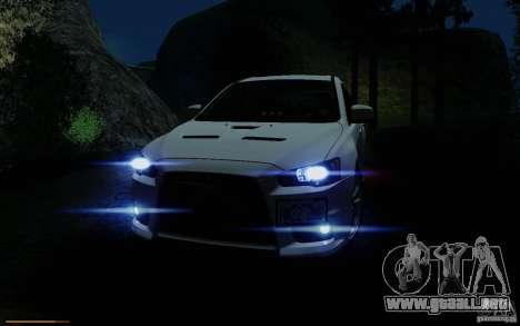Mitsubishi Lancer Evolution X Tunable para vista inferior GTA San Andreas