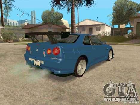 Nissan Skyline GT-R BNR34 Tunable para visión interna GTA San Andreas