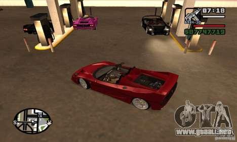 Ferrari F50 Cabrio para GTA San Andreas vista posterior izquierda