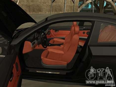 BMW M3 E92 Tunable para GTA San Andreas vista hacia atrás