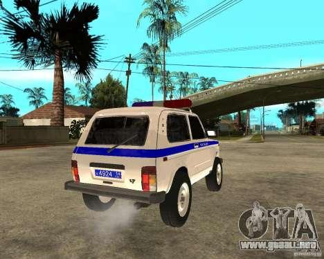 VAZ 2121 policía para GTA San Andreas vista posterior izquierda