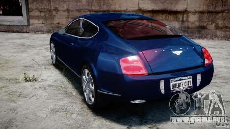 Bentley Continental GT v2.0 para GTA 4 Vista posterior izquierda