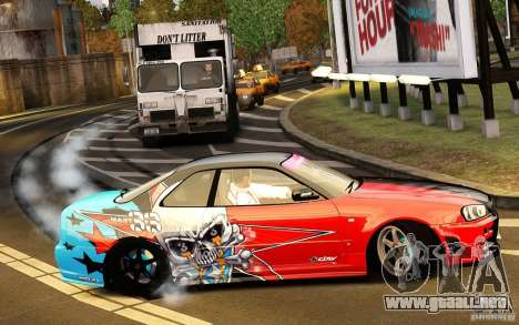 Nissan Skyline R34 Evil Empire para GTA 4 vista hacia atrás