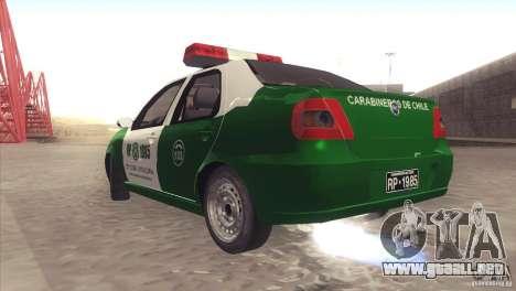 Fiat Siena Carabineros De Chile para la visión correcta GTA San Andreas
