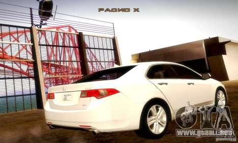 Acura TSX V6 para GTA San Andreas vista posterior izquierda