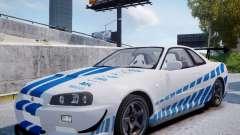 Nissan Skyline GT-R R34 2F2F para GTA 4