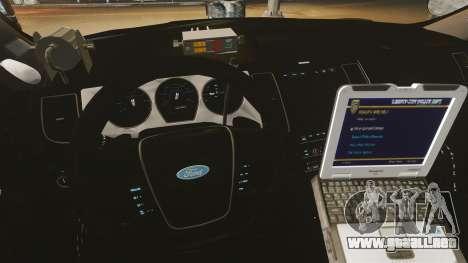 Ford Taurus Police Interceptor 2013 LCPD [ELS] para GTA 4 vista hacia atrás