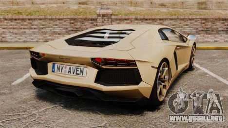 Lamborghini Aventador LP700-4 2012 v2.0 para GTA 4 Vista posterior izquierda