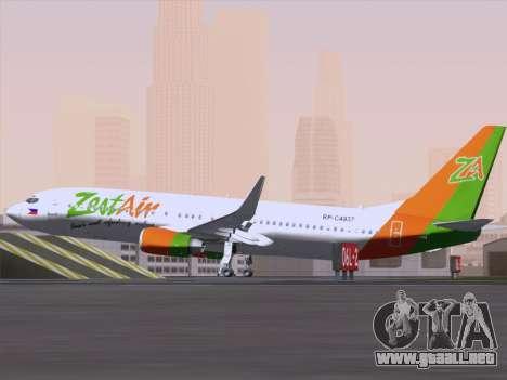 Boeing 737-800 Zest Air para GTA San Andreas vista hacia atrás