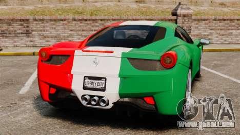 Ferrari 458 Italia 2010 Italian para GTA 4 Vista posterior izquierda