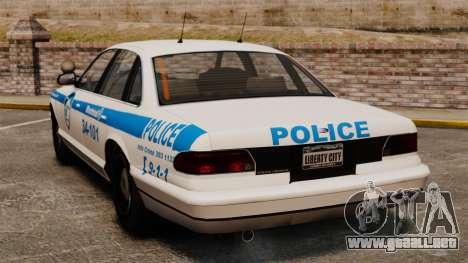 Montreal policía v1 para GTA 4 Vista posterior izquierda