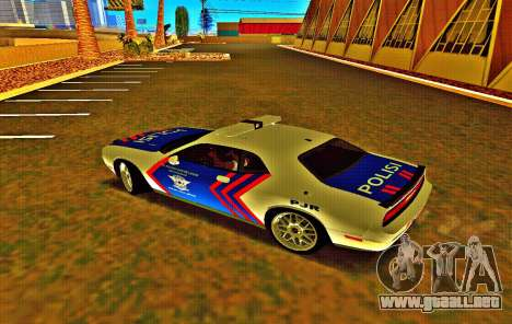 Dodge Challenger Indonesian Police para GTA San Andreas vista posterior izquierda