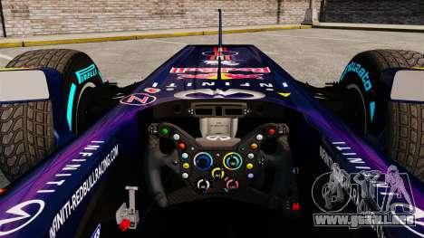 Coche, Red Bull RB9 v1 para GTA 4 vista hacia atrás