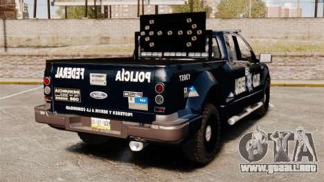Ford F-150 De La Policia Federal [ELS & EPM] v3 para GTA 4 Vista posterior izquierda