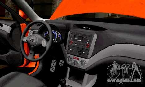 Subaru Forester RRT Sport 2008 v2.0 para GTA San Andreas vista hacia atrás