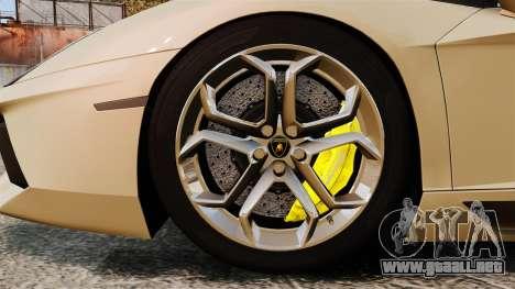 Lamborghini Aventador LP700-4 2012 v2.0 para GTA 4 vista hacia atrás