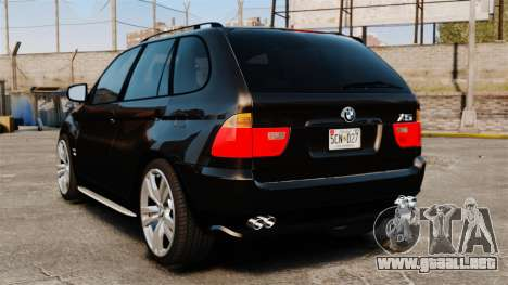 BMW X5 4.8iS v1 para GTA 4 Vista posterior izquierda
