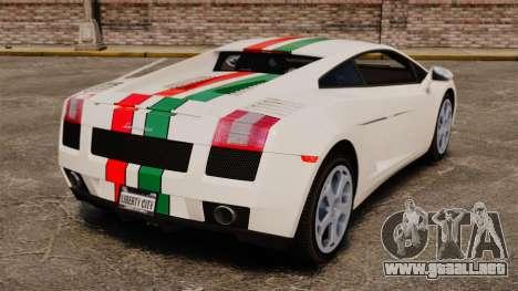 Lamborghini Gallardo 2005 [EPM] Italian para GTA 4 Vista posterior izquierda