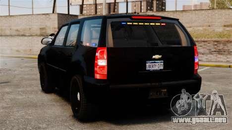Chevrolet Tahoe 2008 Unmarked ELS para GTA 4 Vista posterior izquierda