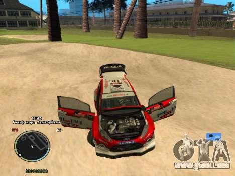 Ford Fiesta RS WRC para GTA San Andreas vista hacia atrás