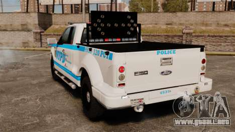 Ford F-150 v3.3 NYPD [ELS & EPM] v2 para GTA 4 Vista posterior izquierda