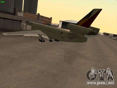 McDonell Douglas DC-10 Philippines Airlines para GTA San Andreas vista hacia atrás
