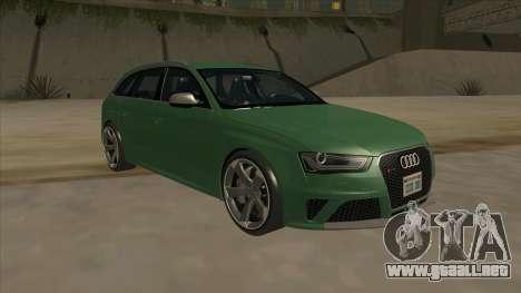 Audi RS4 Avant B8 2013 V2.0 para GTA San Andreas vista hacia atrás