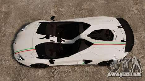Lamborghini Aventador J 2012 Tricolore para GTA 4 vista hacia atrás