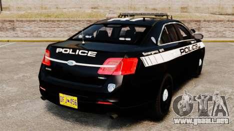 Ford Taurus Police Interceptor 2013 LCPD [ELS] para GTA 4 Vista posterior izquierda