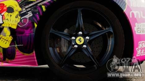Ferrari 458 Spider Pink Pistol 027 Gumball 3000 para GTA 4 vista hacia atrás