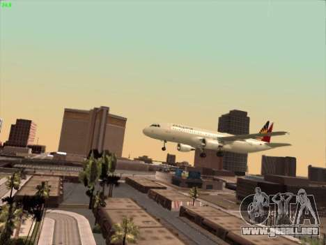 Airbus A320-211 Philippines Airlines para la vista superior GTA San Andreas