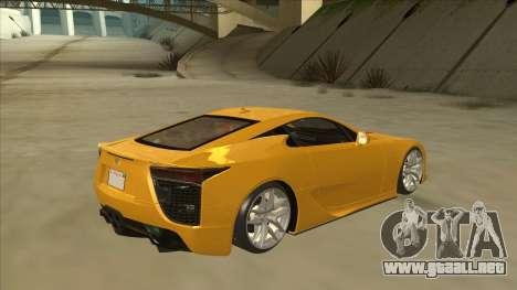 Lexus LFA Autovista 2010 para la visión correcta GTA San Andreas