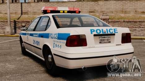 Montreal policía v2 para GTA 4 Vista posterior izquierda