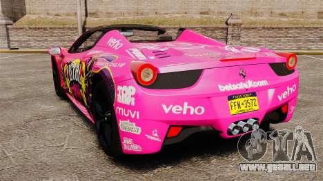 Ferrari 458 Spider Pink Pistol 027 Gumball 3000 para GTA 4 Vista posterior izquierda