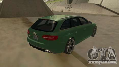 Audi RS4 Avant B8 2013 V2.0 para GTA San Andreas vista posterior izquierda