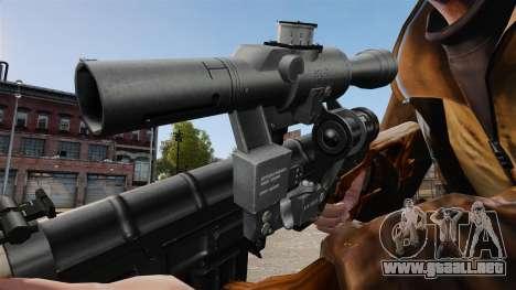 V4 de rifle de francotirador Dragunov para GTA 4 adelante de pantalla