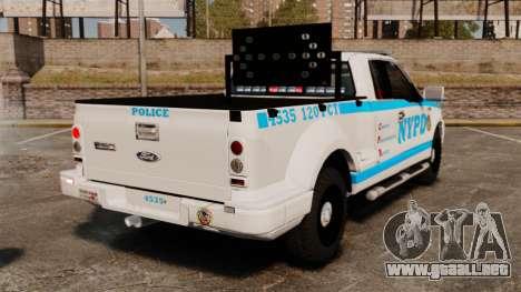 Ford F-150 v3.3 NYPD [ELS & EPM] v1 para GTA 4 Vista posterior izquierda