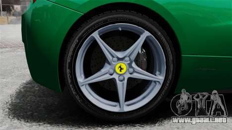 Ferrari 458 Italia 2010 Italian para GTA 4 vista hacia atrás