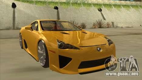 Lexus LFA Autovista 2010 para GTA San Andreas left