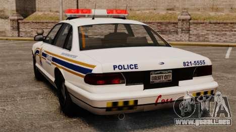 Policía de Sherbrooke para GTA 4 Vista posterior izquierda