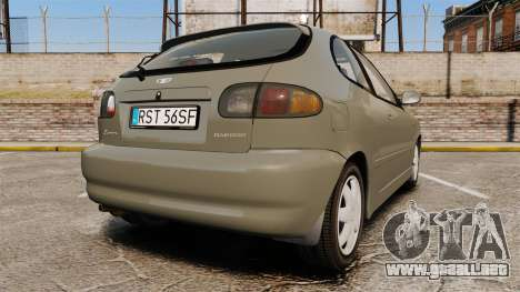 Daewoo Lanos FL 2001 para GTA 4 Vista posterior izquierda