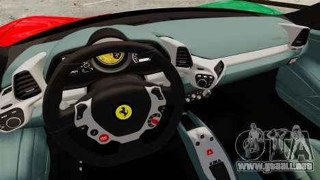 Ferrari 458 Italia 2010 Italian para GTA 4 vista lateral