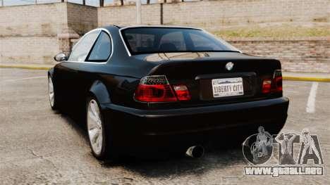 BMW M3 Coupe E46 para GTA 4 Vista posterior izquierda